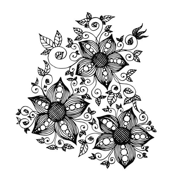 handgezeichnete fantasieblüten mit tracery und blättern - perlenstrauß stock-grafiken, -clipart, -cartoons und -symbole