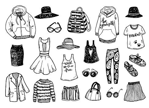 Hand drawn fashion clothes sketch set