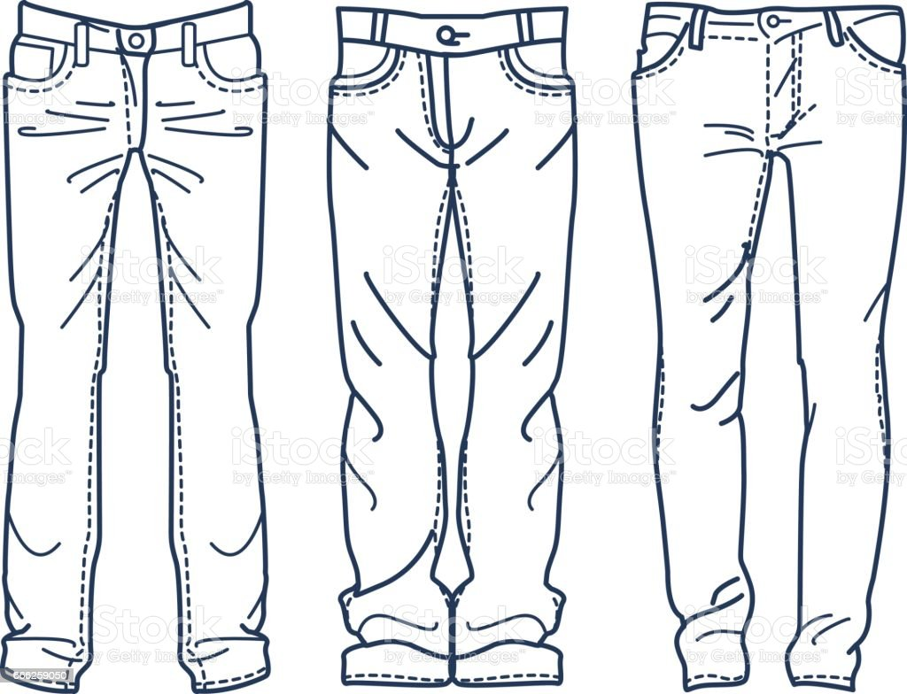Hand Drawn Fashion Collection Of Mens Jeans Drawing Blue ...