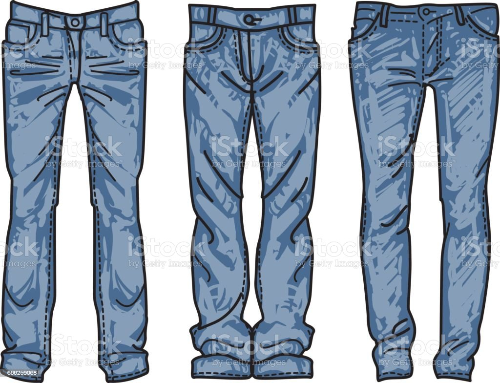 Hand Drawn Fashion Collection Of Mens Jeans Drawing Blue Jeans Vector Illustration Outline ...