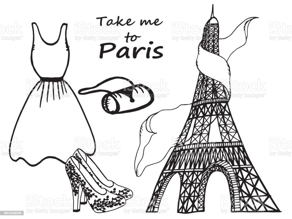 hand drawn fashion illustration eiffel tower dress shoes and handbag