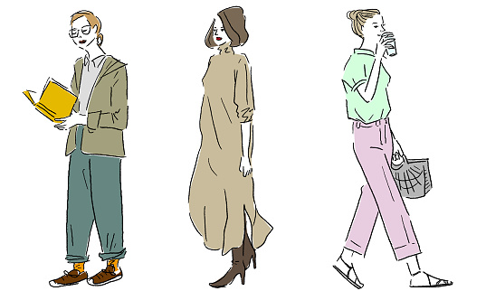 Hand drawn fashion illustration vector set