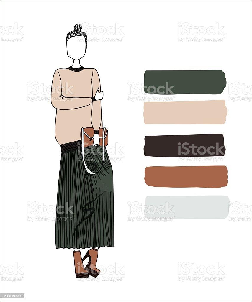手描きイラスト女性のファッションを着ているおしゃれな服