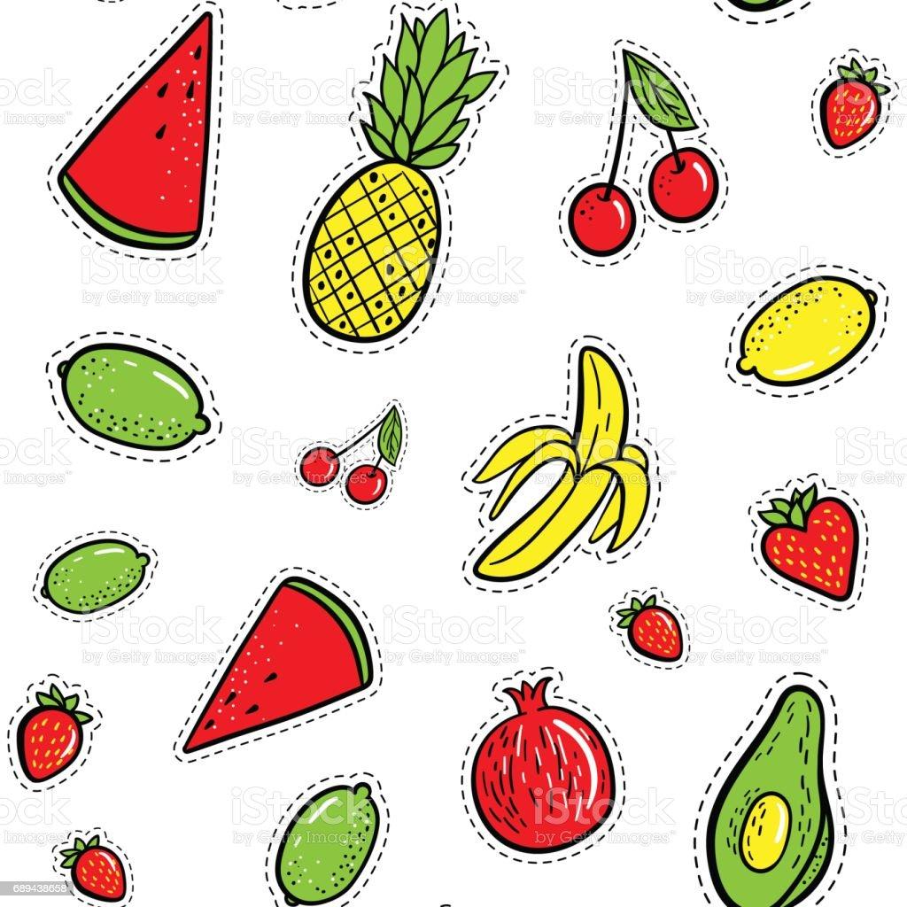 Hand drawn fashion patches tropical fruits: lemon, avocado, pineapple, banana, watermelon seamless pattern. Vector illustration background. Pop art patche, pin, badge 80s-90s style vector art illustration