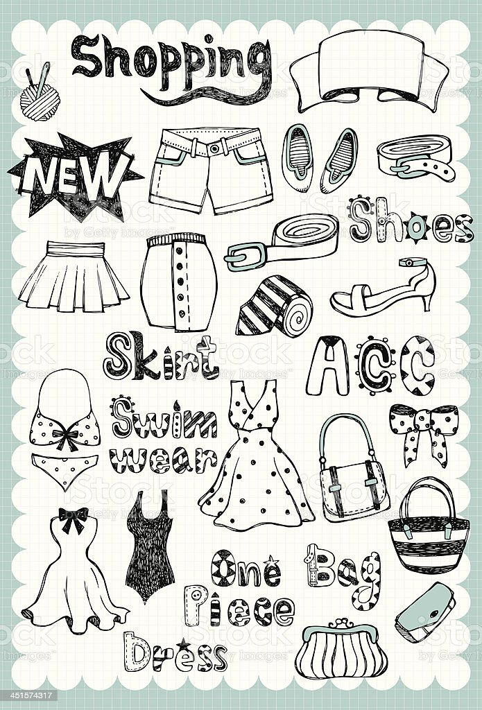 Hand drawn Fashion Set 01 royalty-free stock vector art