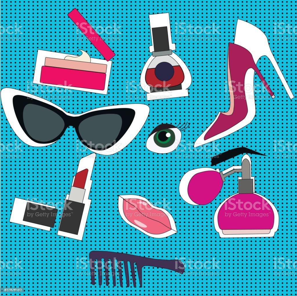 Handgezeichnete Mode Set Sammlung Von Kosmetika Nagellack Mascara ...