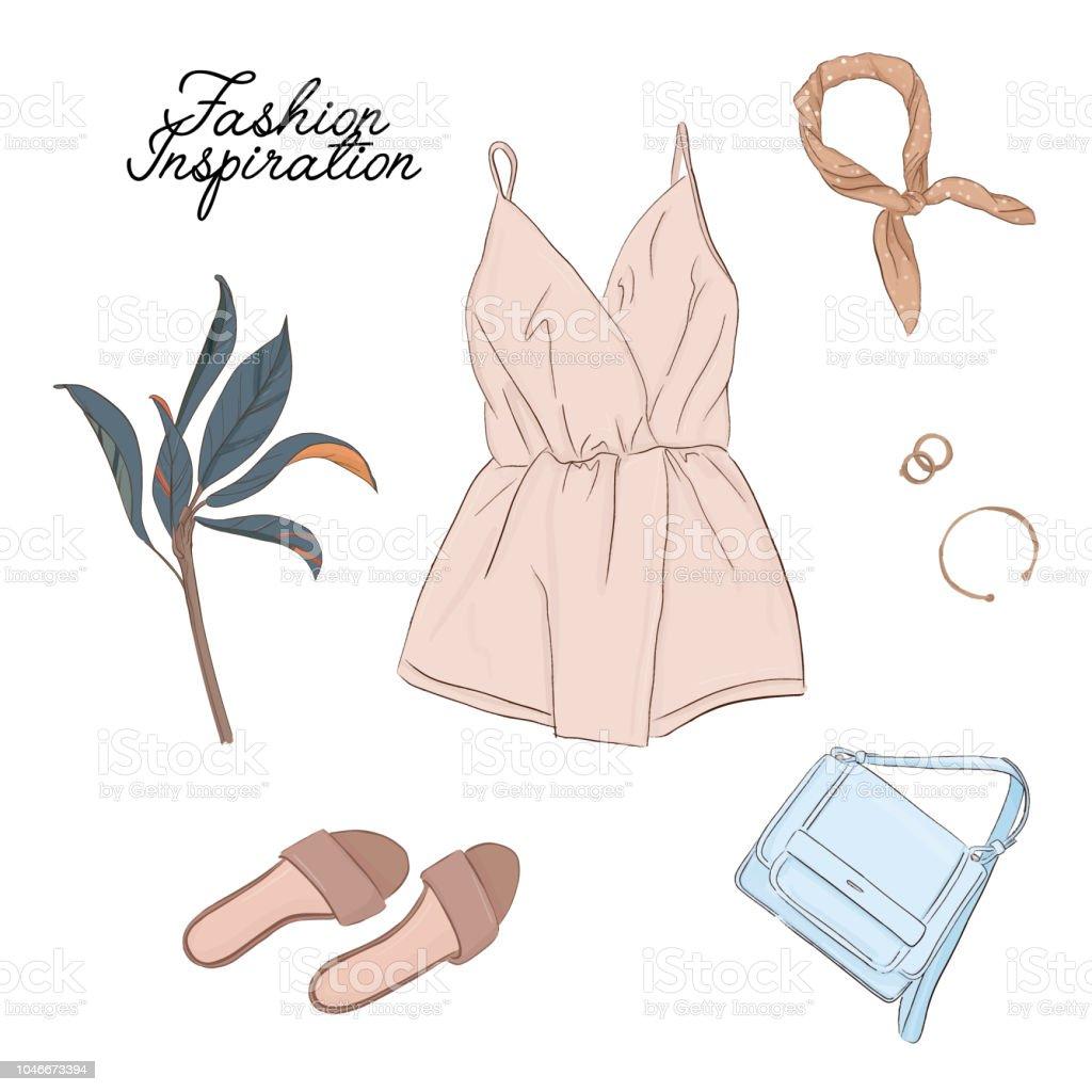 89bc7b8150aca4 手描きファッション女性服。ベクトル アクセサリー水彩スケッチ。服モダンなイラスト。夏
