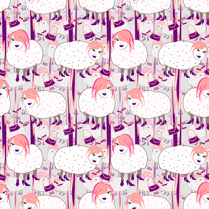 Hand drawn fashionista sheeps with pink hair on gray background.