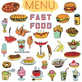 Hand Drawn Fast Food Backgrounds. Menu with texture and text.