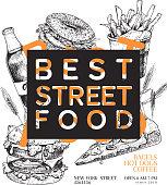 Hand drawn fast food banner. Engraved vector illustration. Burger, pizza, soda, french fries, bagel. Modern trendy typography. Restaurant, menu street food flyer poster