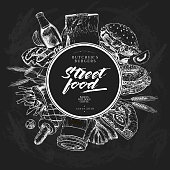 Hand drawn fast food banner. Street food. Burger, hot dog, soda, french fries, pizza, coffee, bagels. Chalkbord vector illustration. For restaurant, menu street food bakery cafe logo flyer