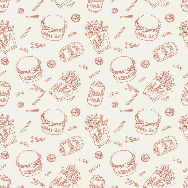 stockillustraties, clipart, cartoons en iconen met hand drawn fast food doodle pattern - hamburgers
