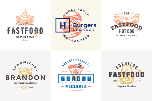 Hand drawn fast food logos and labels with modern vintage typography retro style set vector illustration
