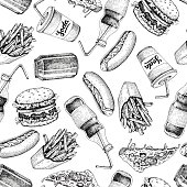 Hand drawn fast food pattern. Junk food and soda drinks background. Burger, pizza, hot dog, french fries and soda detailed illustrations. Great for fast food restaurant, menu or banner