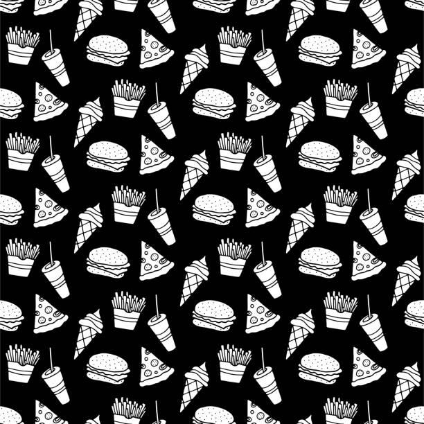 ilustrações de stock, clip art, desenhos animados e ícones de hand drawn fast food vector seamless pattern - ffp2