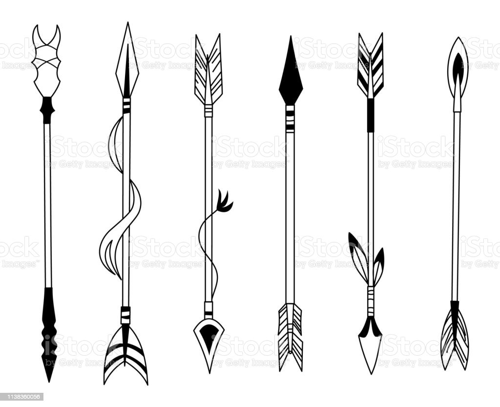 Hand Drawn Feather Arrow Tribal Feathers On Pointer And Decorative