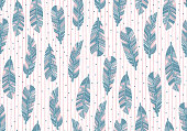 istock Hand drawn feather tribal seamless pattern. Seamless pattern of feathers isolated on white background. Blue feathers pattern isolated on white background. 1272718779