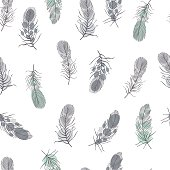 Hand drawn feathers . Vector   pattern