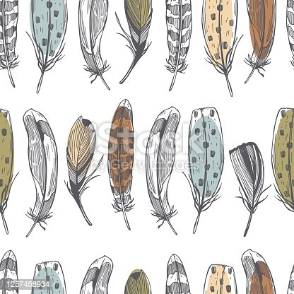 istock Hand drawn feathers . Vector   pattern 1257458934
