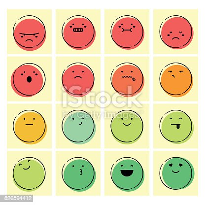 Vector illustration of a set of emoticons designed for feedback and reports