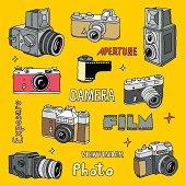 Hand drawn film photo cameras set. Vector illustration.