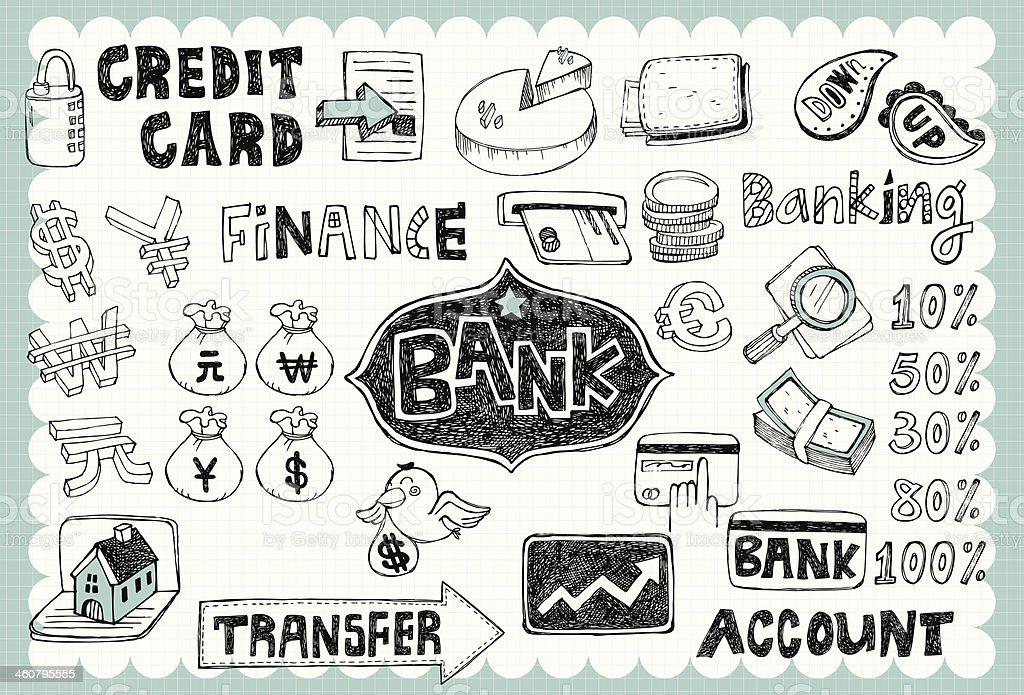 Hand drawn finance&bank set 01 royalty-free stock vector art