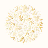 Hand drawn fir with cone, mistletoe and holly round golden frame. Christmas holiday gold coniferous wreath with pine, cedar branches for decoration. Vector isolated design floral glitter elements.