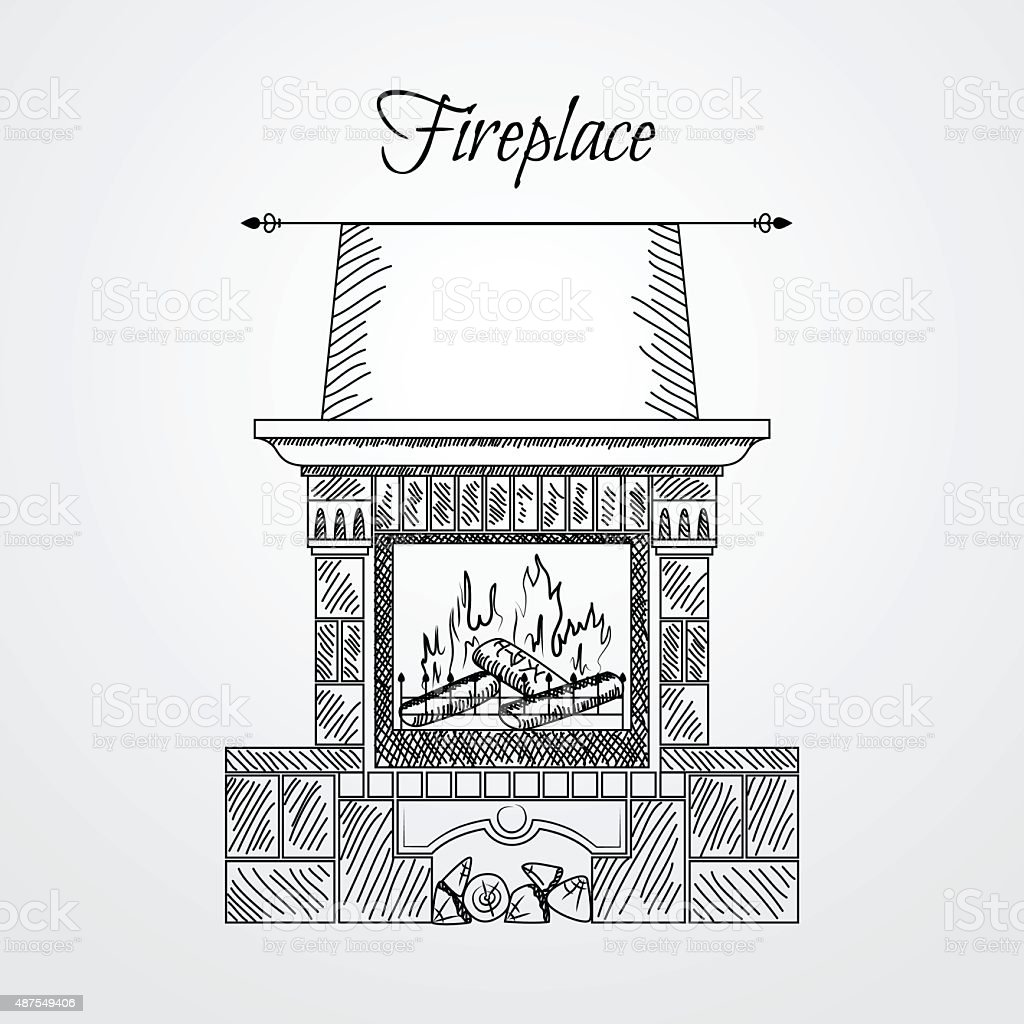 Hand drawn fireplace isolated on white background vector art illustration