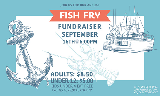 Hand Drawn Fish Dinner Fundraiser With Nautical Elements