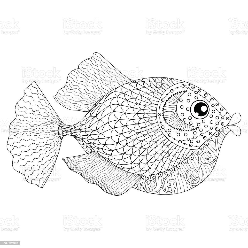 手描きの魚大人のアンチストレス塗り絵 いたずら書きのベクターアート