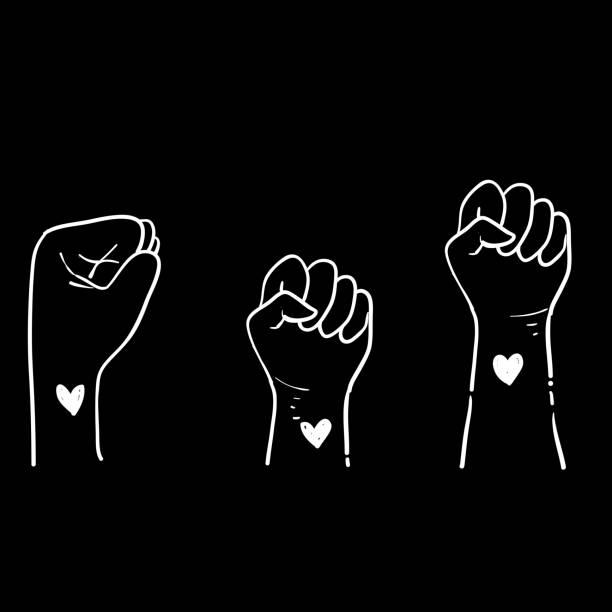 ilustraciones, imágenes clip art, dibujos animados e iconos de stock de símbolo de puño dibujado a mano para la protesta en estados unidos para detener la violencia a los negros. lucha por el derecho humano de la gente negra en estados unidos. doodle - civil rights