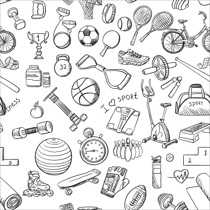 Hand drawn Fitness Sport doodle pattern
