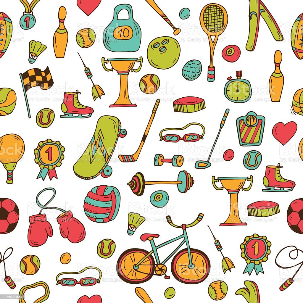 Hand drawn fitness, sport seamless pattern. Doodle icons in sketch...