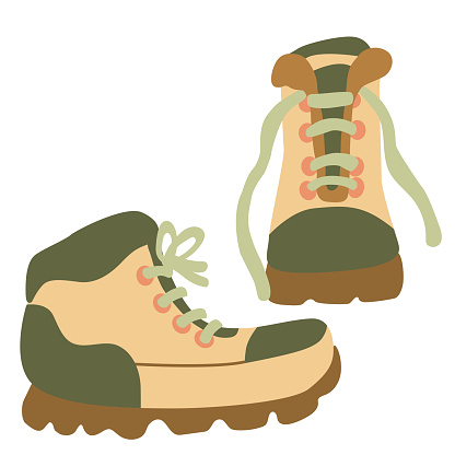 Hand drawn flat vector illustration of hiking boots