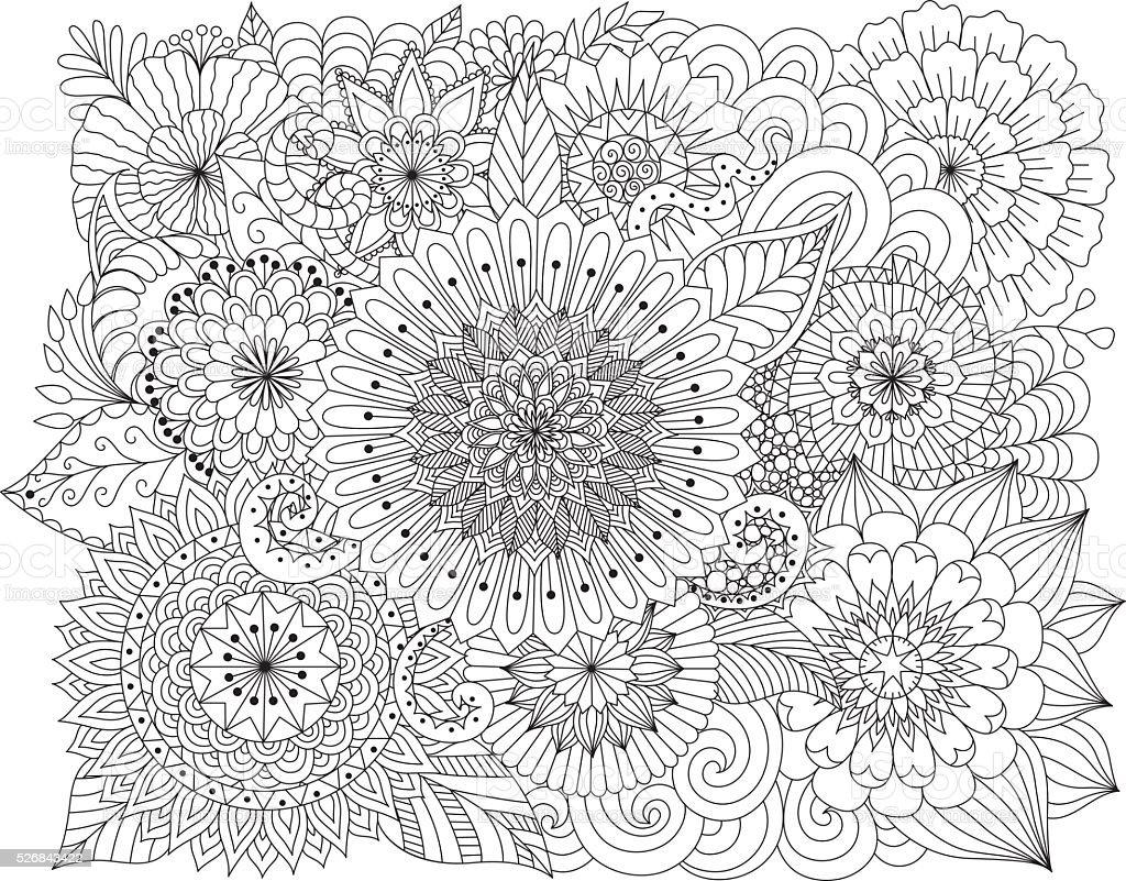 Ilustracion De Dibujado A Mano Zentangle Fondo Flores Para Colorear