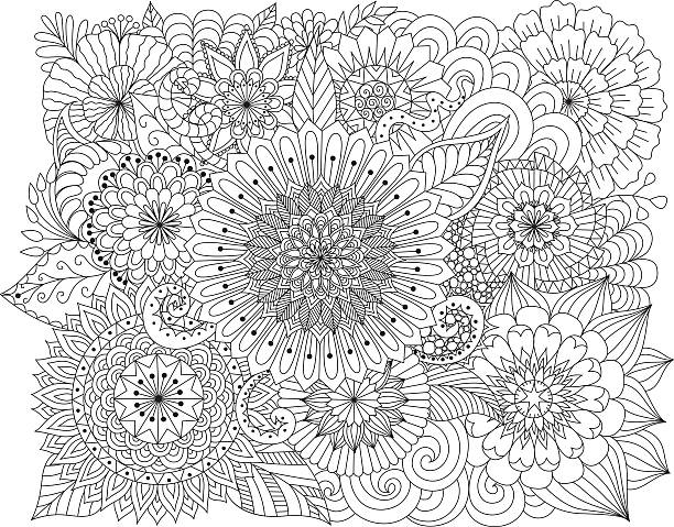 Hand drawn floral background for coloring page vector art illustration