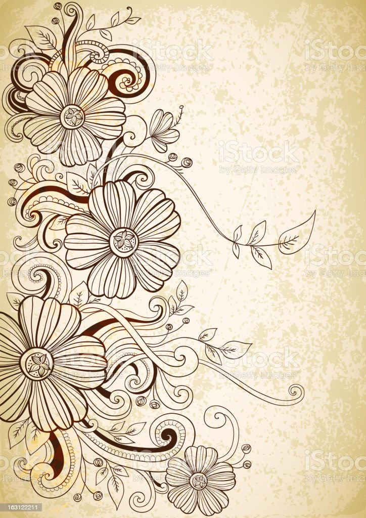 Hand drawn floral background royalty-free stock vector art