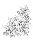 Hand Drawn Floral Bunch with Roses and Leaves