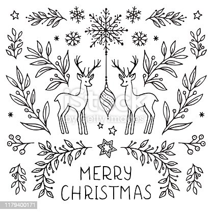 istock Hand drawn floral Christmas card template 1179400171