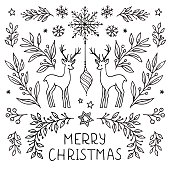 Simple hand drawn floral Christmas card template with plants, leaves, snowflakes and deer