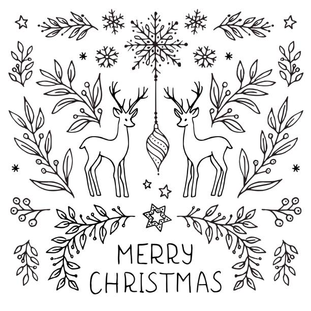 Hand drawn floral Christmas card template vector art illustration