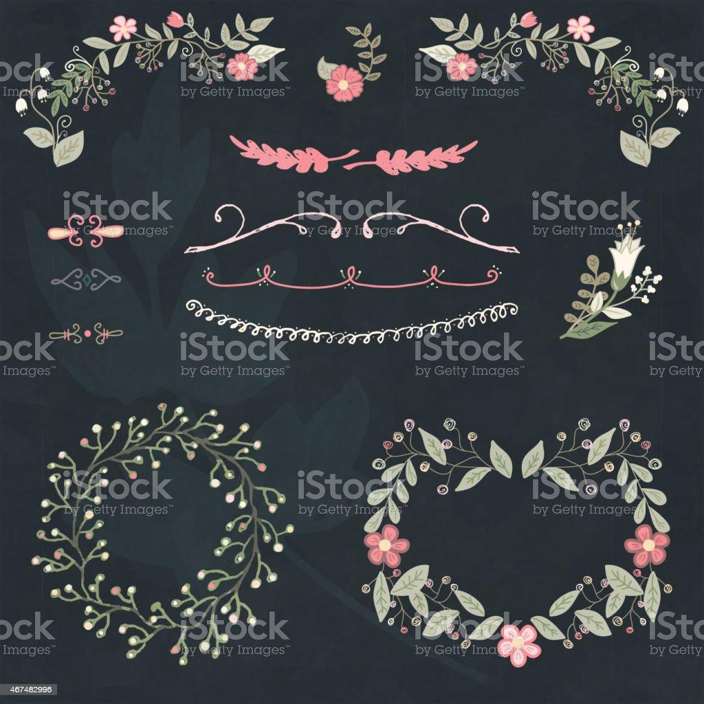 Hand drawn set floral design-element – Vektorgrafik
