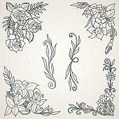 Hand Drawn Floral Design Elements for Frames