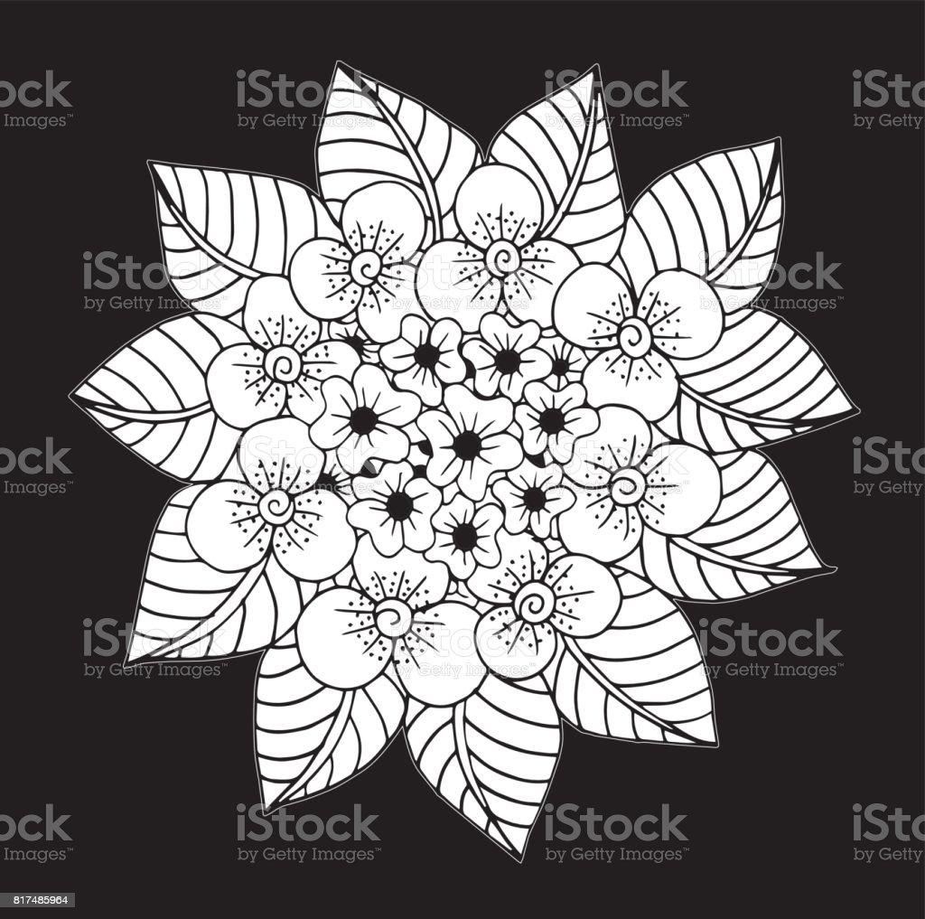 Ilustración de Doodle Flores Dibujada De La Mano Páginas Para ...