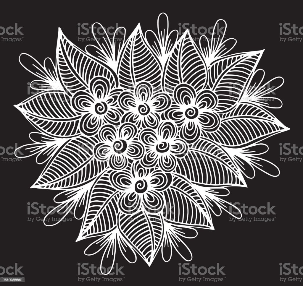 El çizilmiş çiçek Doodle Kitap Için Boyama
