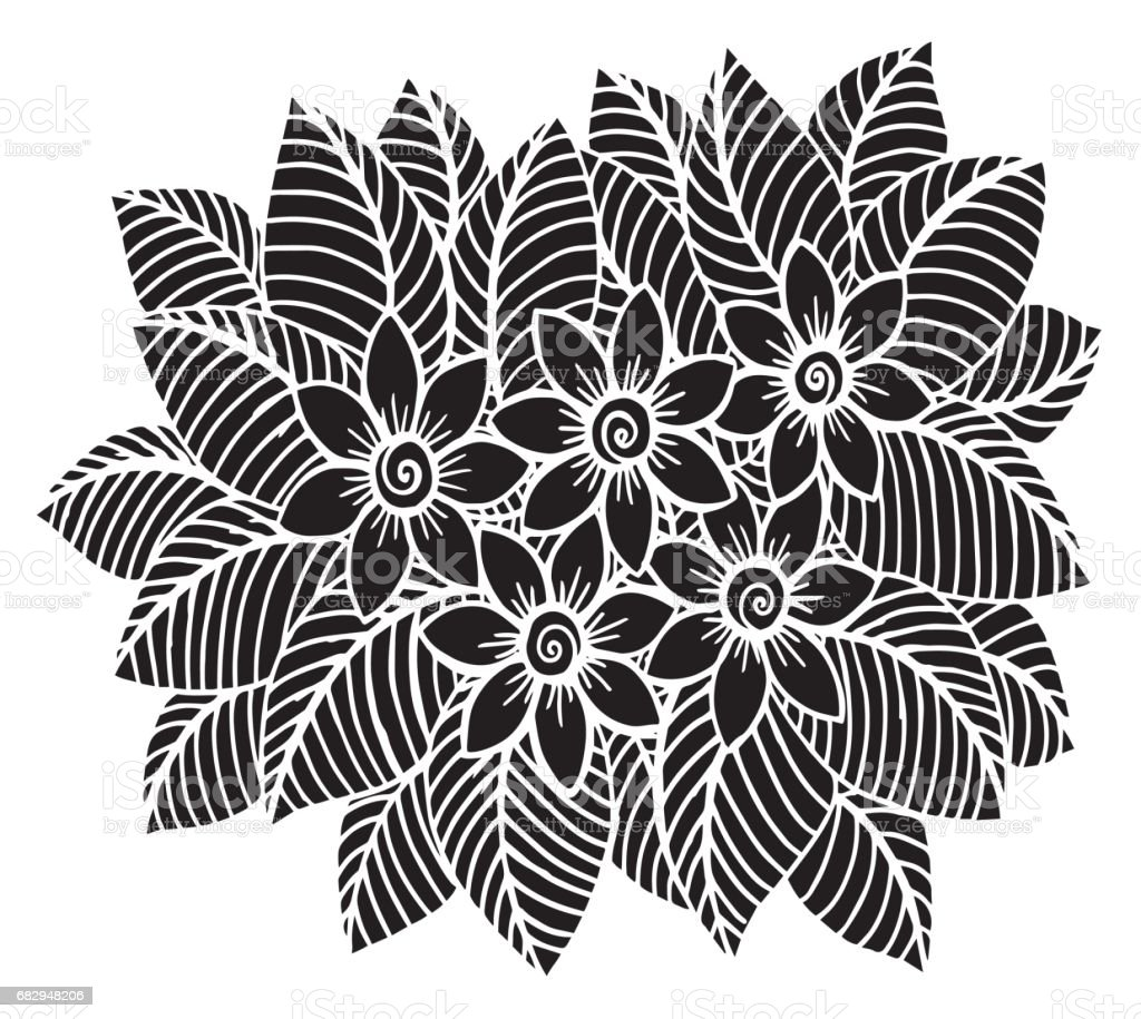 Hand drawn floral doodle. Coloring pages for book - Illustration Circle, Coloring, Drawing - Activity, Formal Garden, Ink royalty-free hand drawn floral doodle coloring pages for book illustration circle coloring drawing activity formal garden ink stock vector art & more images of abstract