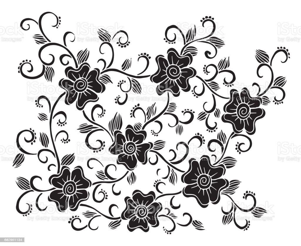 El Cekilmis Cicek Doodle Illustrasyon Cember Boyama Resim Cizme