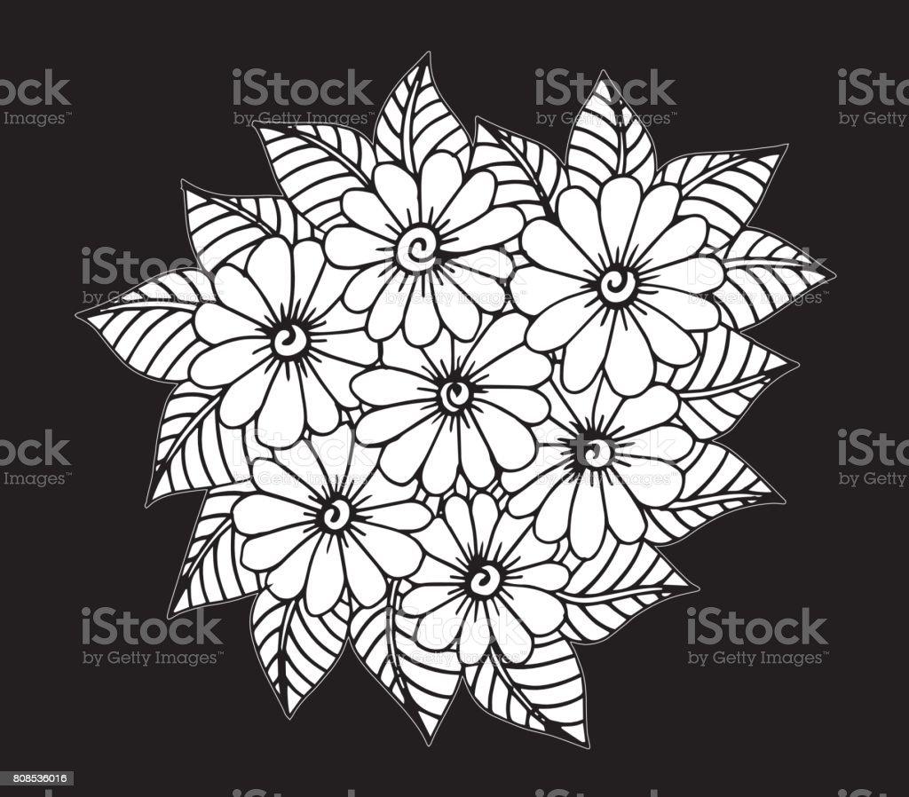 El çekilmiş çiçek Doodle Boyama Kitabı Illüstrasyon çember