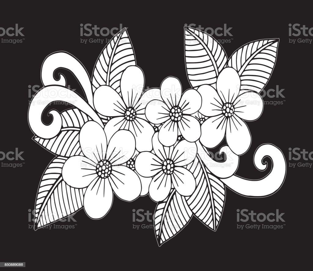 El çekilmiş çiçek Doodle Boyama Kitabı Illüstrasyon çember Boyama