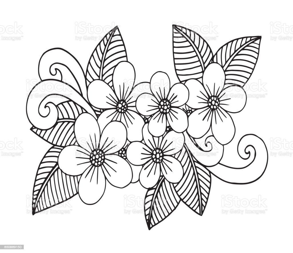 Vetores De Doodle Floral Desenhada De Mao Colorir Paginas De Livro
